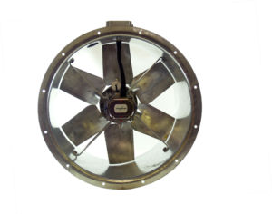 56JM/20/4/6/28/1Ph Long cased axial flow extract fan by Flakt Woods