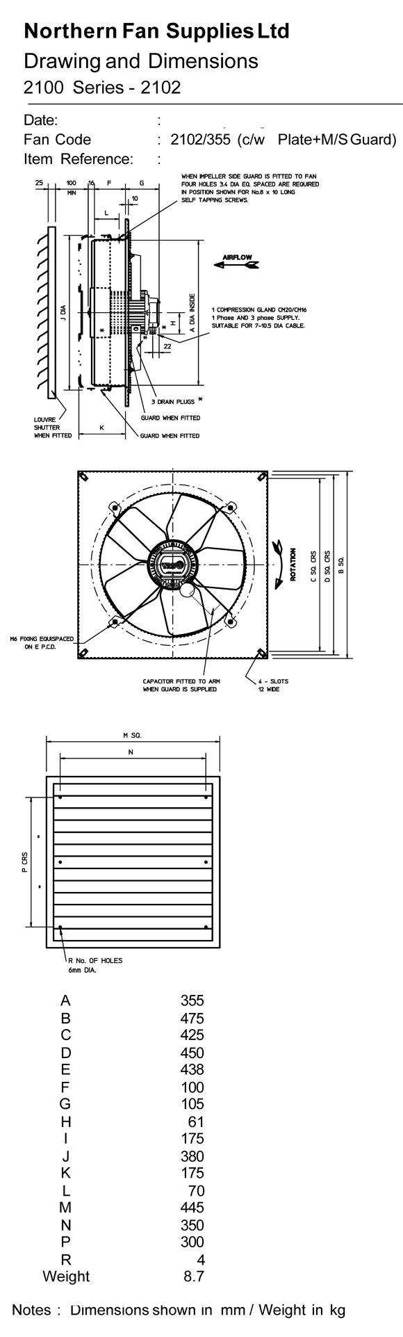 2102  355  4  1ph Plate Mounted Extract Fan By Flakt Woods