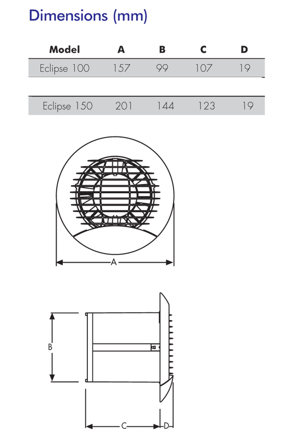 Eclipse 100xt Bathroom Kitchen Toilet Wall Or Ceiling Mounted Extractor Fan By Vent Axia Nfan